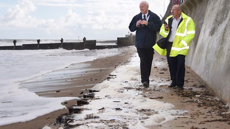Bob White, right, Mundesley Coastwatch station manager, and his deputy, Roger Behling, keeping an ey