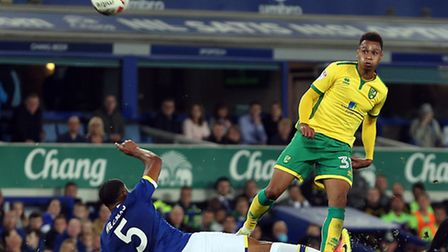 Josh Murphy curls home Norwich City's second goal during their 2-0 win at Everton in the third round