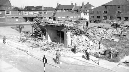 Buildings on The Conge being demolished in 1961 to be replaced by police station.PLATE P3036