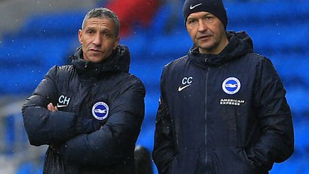 Brighton manager Chris Hughton (left) and assistant Colin Calderwood both face former club Norwich C