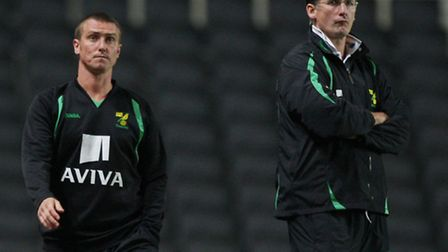 Lee Clark, left, with Glenn Roeder during their time at Carrow Road. Photo: PA