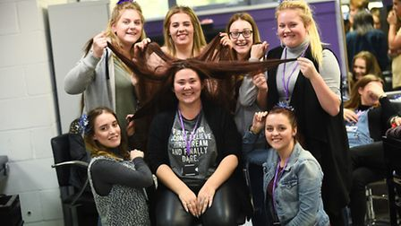 College of West Anglia hairdressing student Lauren Flowers had her hair cut raising funds for the Li