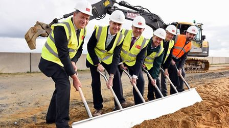 Formal groundbreaking ceremony using a six handle shovel at the Outer Harbour in Great Yarmouth. Con