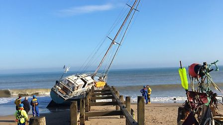 The beached yacht at Cart Gap, near Happisburgh. Picture: ALEX HURRELL