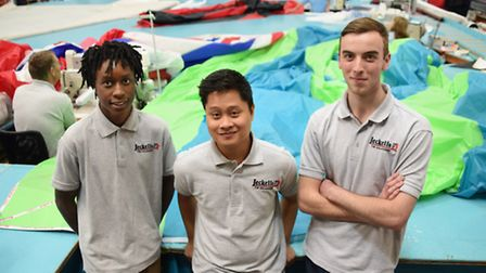 Apprentice sailmakers at Jeckells. From left, Mark Mwebe, David Youngs, and Chris Carter. Picture: D