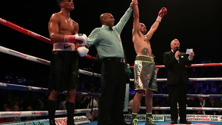 Craig Cunningham celebrates his victory over Anthony Ogogo during the vacant WBC International Middl