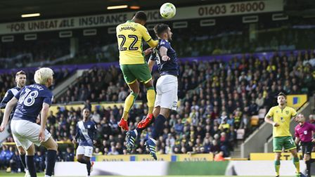 Jacob Murphy tries to get a header on target in the first-half of Norwich City's Championship game a