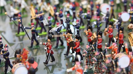 Band members in Derrick Eagle's display of Beating the Retreat with massed bands at a First World Wa