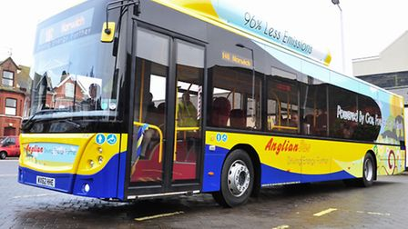 Anglian bus company MD, Andrew Pursey launching the company's new fleet of gas powered buses. Pictu