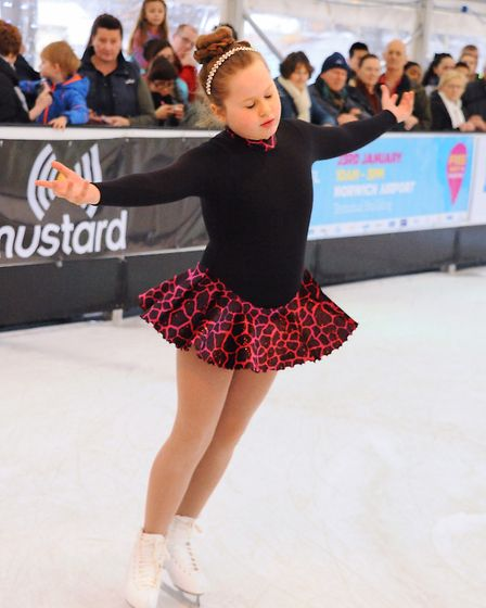 Lara Harrold, 9, one of the skaters performing at the opening of the Norwich Ice Rink at Castle Mall