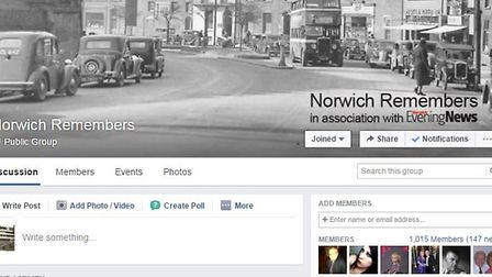The Norwich Remembers Facebook page which Anne Greenacre is using to help find her family. Photo: Fa