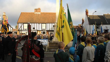 The theft happened in the week leading up to remembrance events in Wymondham. Here, crowds gather fo
