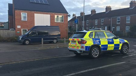 Police at the address at Magpie Road in Norwich where a man was arrested on suspicion of an attempte