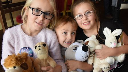 Gracie Savage, eight, with Josh Knowles, three, and his sister Elise Rogers, eight, with the cuddly