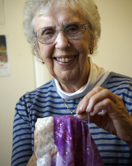 Theatrical costume maker Beryl Patterson at her home in West Runton. Picture: MARK BULLIMORE
