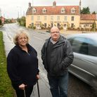 Susan Rowles and Dean Bailey want a speeding campaign in Lenwade. Picture: Ian Burt
