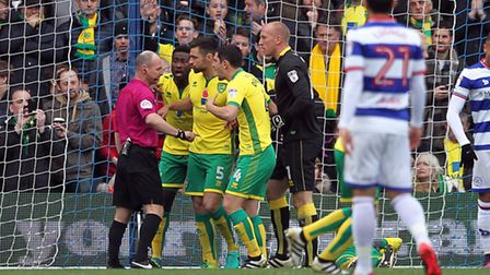 The expressions say it all as Martin Olsson lays on the floor after handling the ball, in the openin