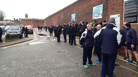 Prison officers protesting outside Norwich prison.