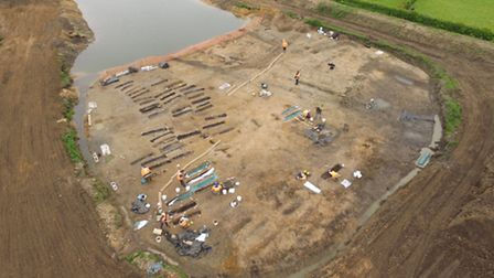 An aerial view of the MOLA excavation site at Wensum Park, Great Ryburgh