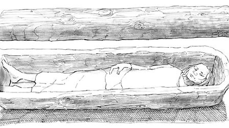 Reconstruction of tree-trunk coffin with lid from early Anglo-Saxon grave 772 at Mucking Cemetery II