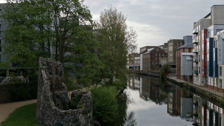 View of the City wall eastern boom tower from Carrow Bridge by @marcy_p