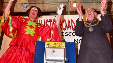 Beccles 2016 Christmas light switch on event.Panto Dame and Mayor Graham Catchpole switch on the lig