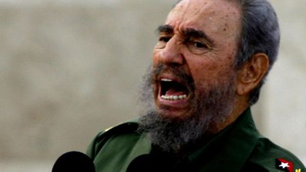 Cuban President Fidel Castro addresses a crowd of tens of thousands gathered in Bayamo, in the Granm