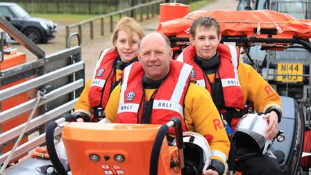 Cubitt Siely, centre, is retiring from his position as helmsman at Happisburgh lifeboat station. Pic
