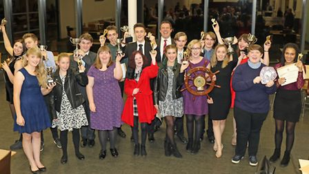 NWHS head teacher Neil Powell (centre back) with the 2016 prizewinners. Picture: ANDY NEWMAN