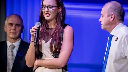 Scenes from the Norfolk Sports Awards 2016 held at Open in Norwich - past winners on stage, Jessica-