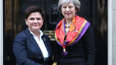 Prime Minister Theresa May (right) welcomes Polish Prime Minister Beata Szydlo to 10 Downing Street,