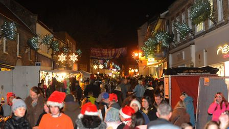 Visitors to the Thetford's Christmas lights switch in 2012. Photograph Simon Parker
