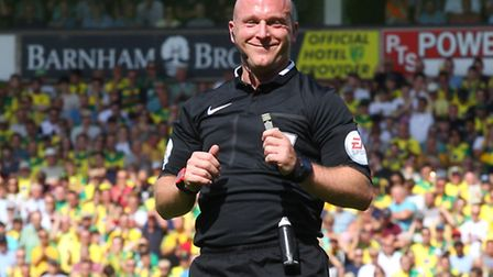 Referee Simon Hooper during Norwich City's match against Crystal Palace in August 2015. Picture: Pau