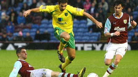 Simon Lappin in Championship action for Norwich City at Burnley in February 2011. Picture: Paul Ches