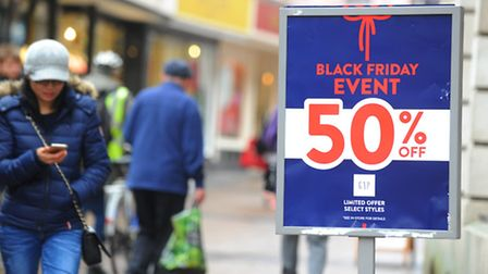 Shoppers out in force in Norwich city centre on Black Friday in 2015. Photo : Steve Adams