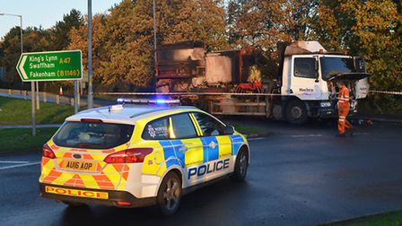 The lorry which caught fire on the A47 slip road at Dereham. Picture: Chris Bishop