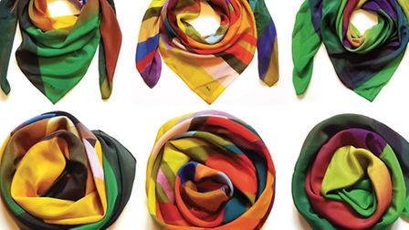 Silk Scarves from original paintings by Trevor Woods, on show at Gallery Plus