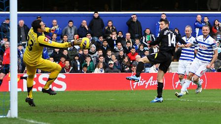 Wes Hoolahan sees his shot brilliantly saved by Julio Cesar when Norwich City last faced QPR in Febr