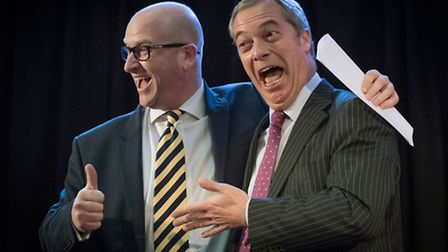 Paul Nuttall (left) is congratulated by Nigel Farage after he was announced as the new Ukip leader a