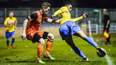 Action from King's Lynn Town v St Ives at The Walks in the FA Trophy - Lynn's Kurtis Revan on the ba