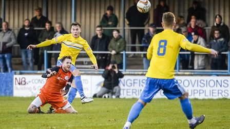 Action from King's Lynn Town v St Ives at The Walks in the FA Trophy Lynn's Toby Hilliard takes a sh