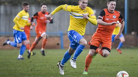 Action from King's Lynn Town v St Ives at The Walks in the FA Trophy - Lynn's Toby Hilliard on the b