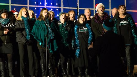 Carrolers filled the streets with festive cheer at the christmas light switch on in Diss