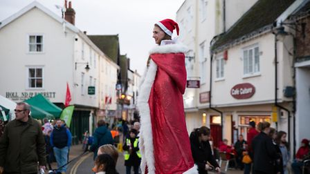 Festive costumes were shining bright at the christmas light switch on in Diss