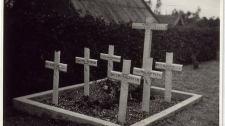 The grave in Molenaarsgraaf church, Holland, dedicated to the British airmen who died after their La