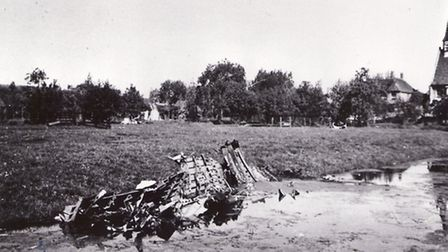 An archive picture of the debris of the Lancaster bomber in Molenaarsgraaf, Holland, which was shot