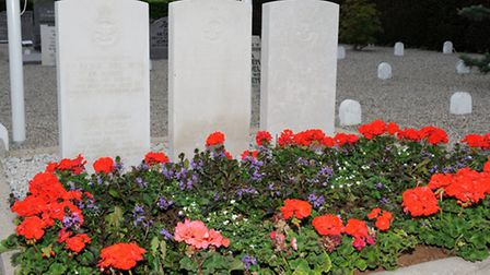 The grave of Sgt Sidney Smith from Norwich and other airmen who were killed after the Lancaster bomb