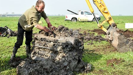 The 2015 excavation of the propeller and engine of the Lancaster bomber which was shot down by Luftw