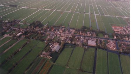 An aerial view of Molenaarsgraaf, Holland, where a Lancaster bomber was shot down by Luftwaffe on Ma