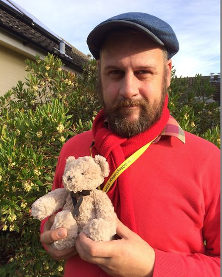 John Nice, head of press at Easton and Otley College, brought his teddy to work as part of the colle